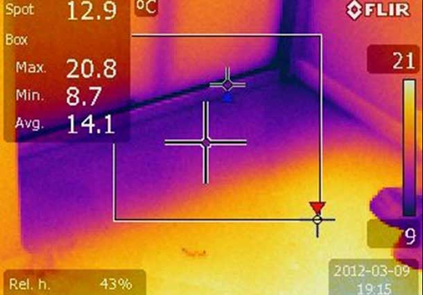 Termoizoliacijos nebuvimas grindyse (Absence of thermal insulation in the floor)