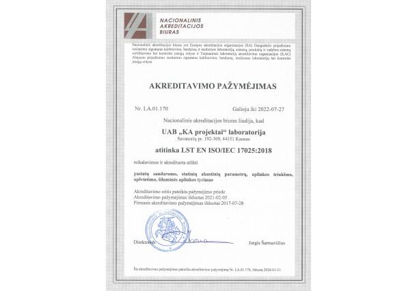 Akreditavimo pažymėjimas 2017