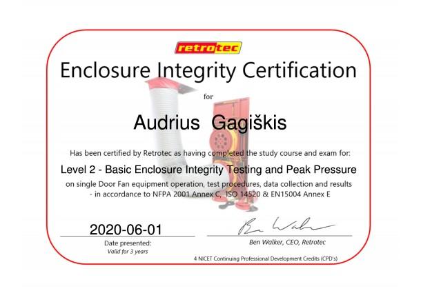 Enclosure integrity sertification 2018