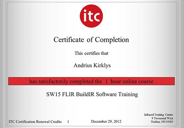 Certificate of completion 2012