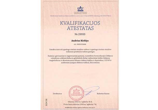 Kvalifikacijos atestatas 2012
