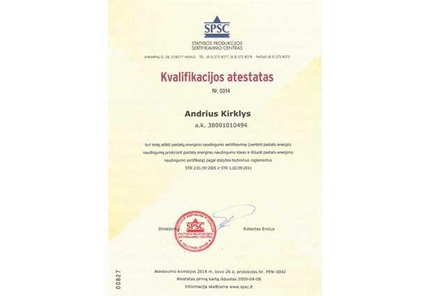 Kvalifikacijos atestatas 2014